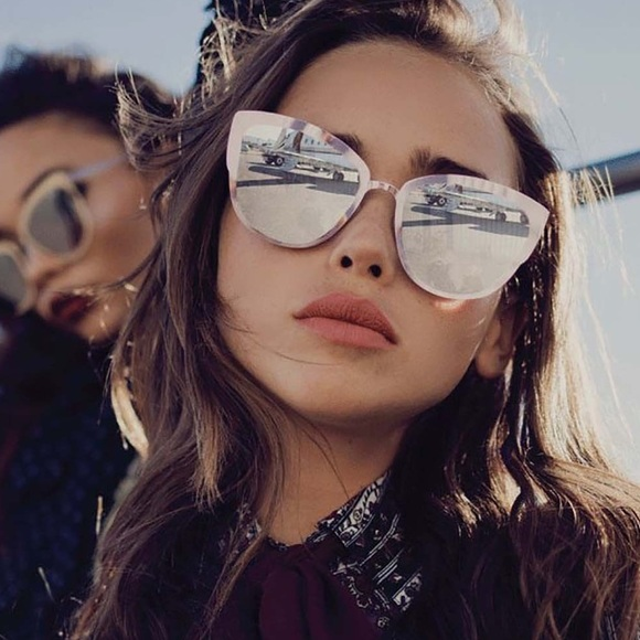 a4042f7aed QUAY Supergirl Rose Gold Cat Eye Mirror Sunglasses